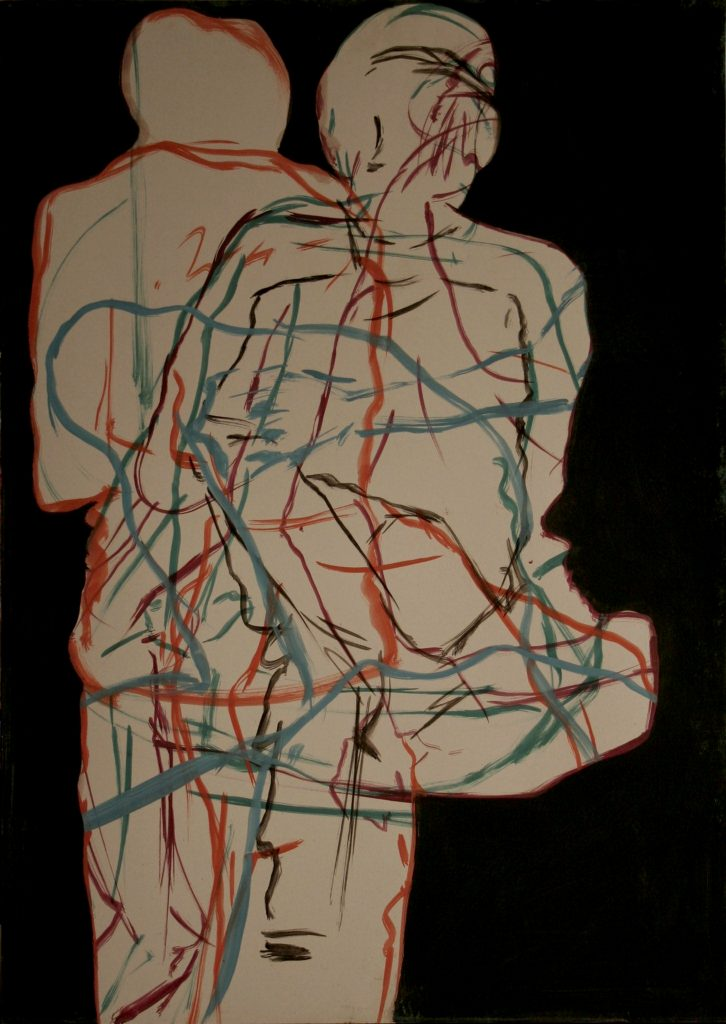 Figures, oil on paper and plywood, 100Χ70 cm, 2007