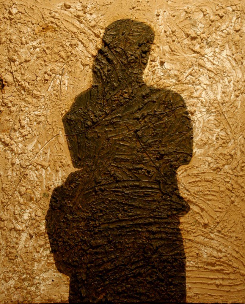 Shadow, mixed media, earth + ink de Chine, 120Χ100cm 2008